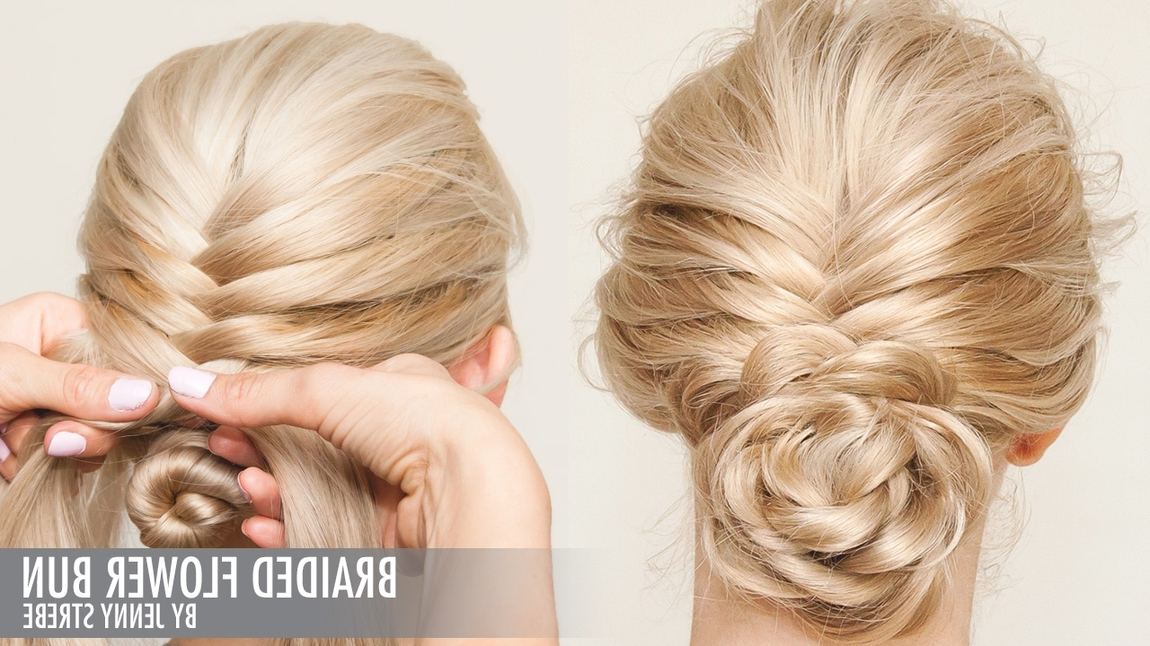 Most Up To Date French Braids In Flower Buns With Braided Flower Bun (View 2 of 15)