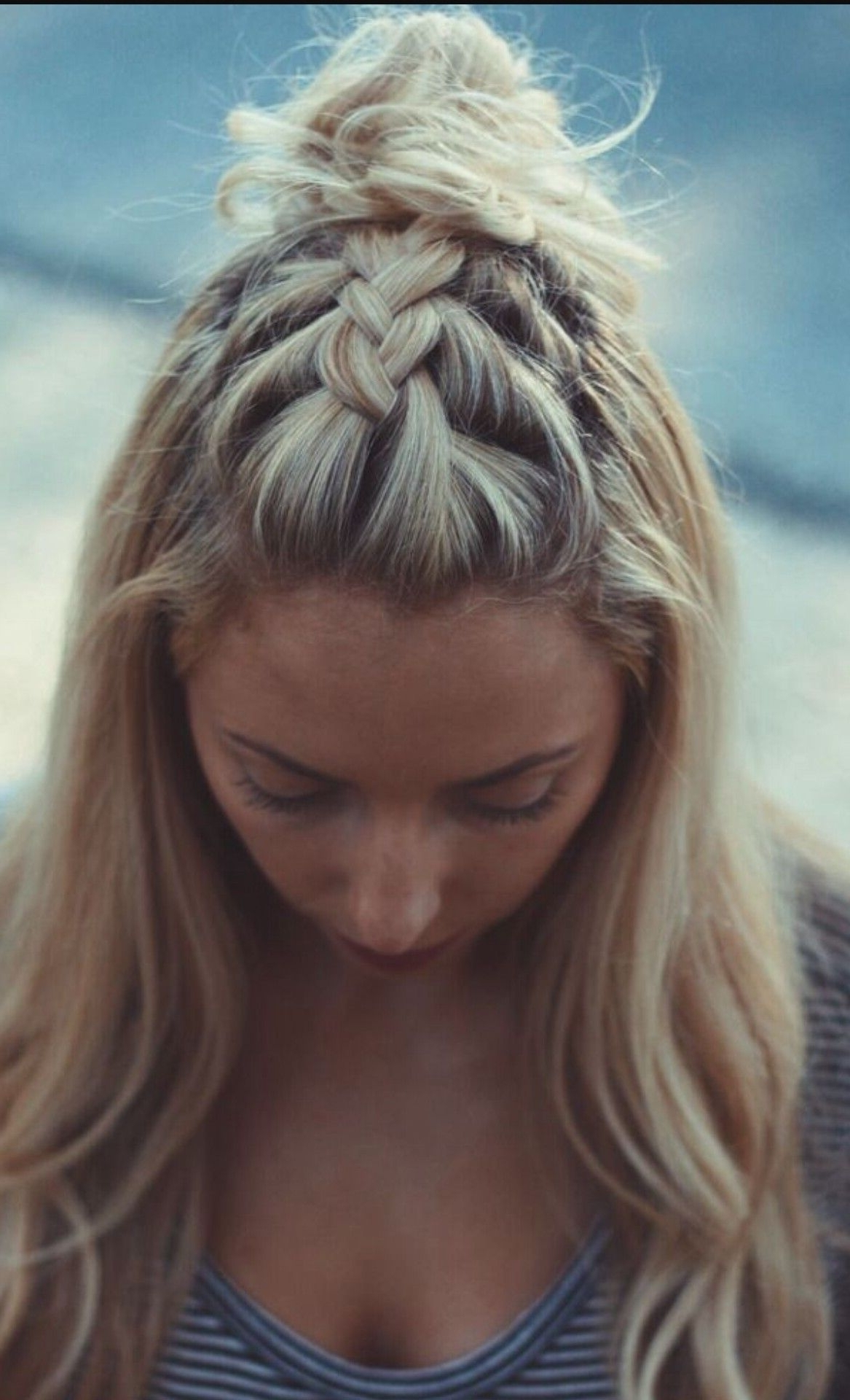 Most Up To Date Messy French Braid With Middle Part With This Is Just A French Braid On Top Of The Head! Http://rnbjunkiex (View 12 of 15)