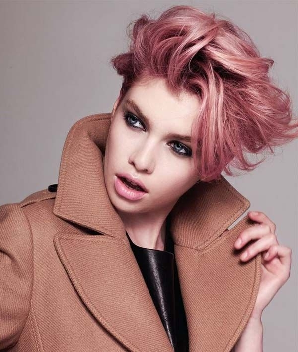 Most Up To Date Rose Gold Pixie Haircuts Inside Long Pixie Pink Rose Gold (View 10 of 15)
