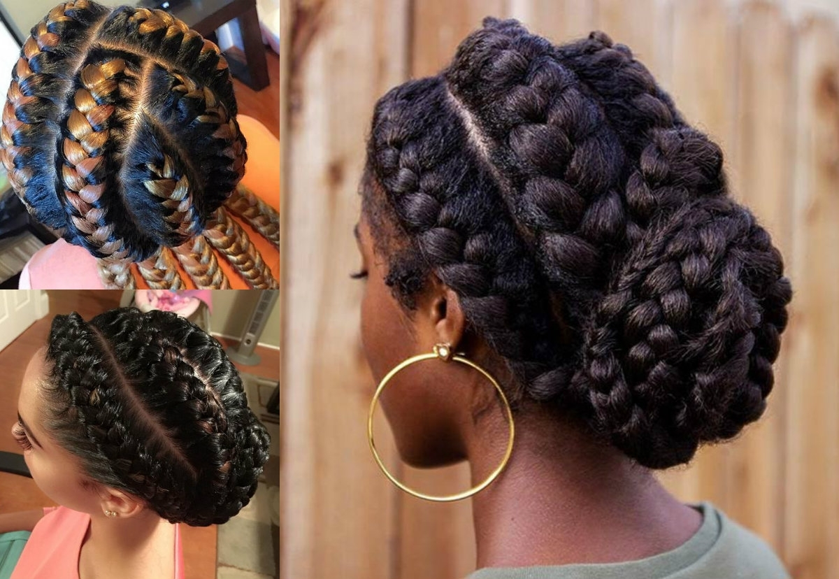 Most Up To Date Top Knot Ponytail Braids With Pink Extensions With Regard To Stunning Goddess Braids Hairstyles For Black Women (View 10 of 15)