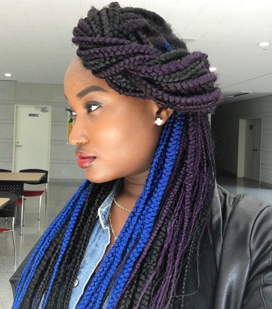 Most Up To Date Twist From Box Braids Hairstyles Regarding Top 20 Box Braids Updo Hairstyles – Page 6 – Foliver Blog (View 11 of 15)