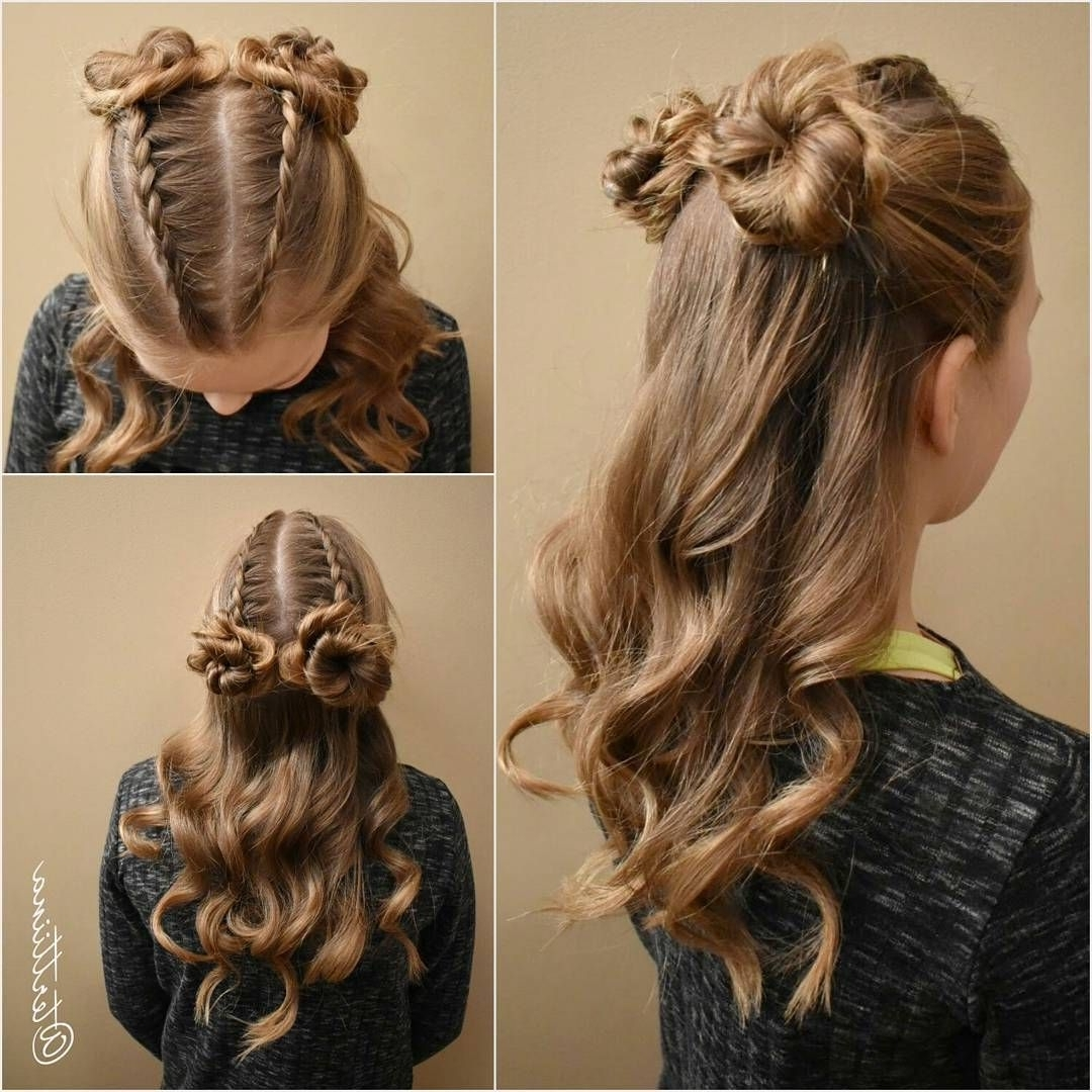 Most Up To Date Zipper Braids With Small Bun Pertaining To Two Small Dutch Braids Into Small Messy Buns And Curls! (View 7 of 15)