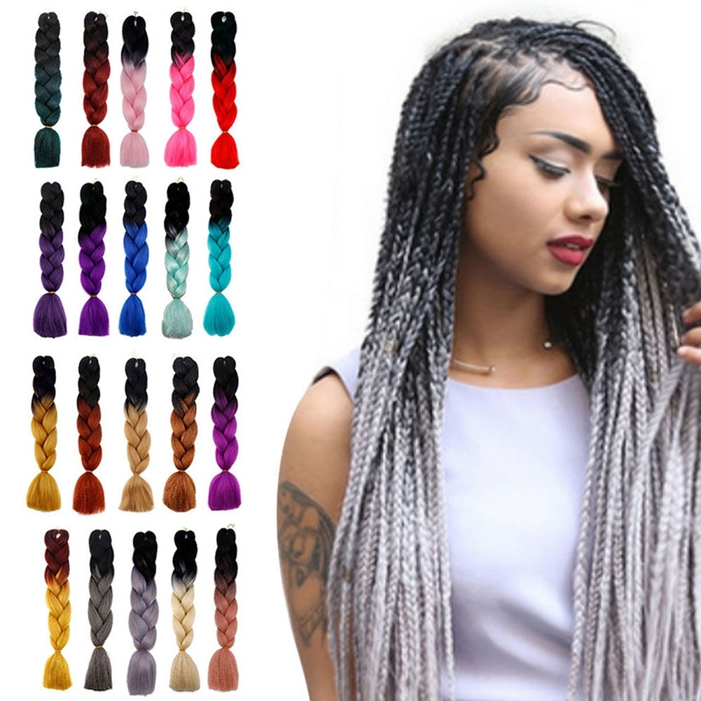 Multicolor 24'' Ombre Synthetic Jumbo Braiding Hair Extension Afro For Well Liked Multicolored Jumbo Braid Hairstyles (View 10 of 15)