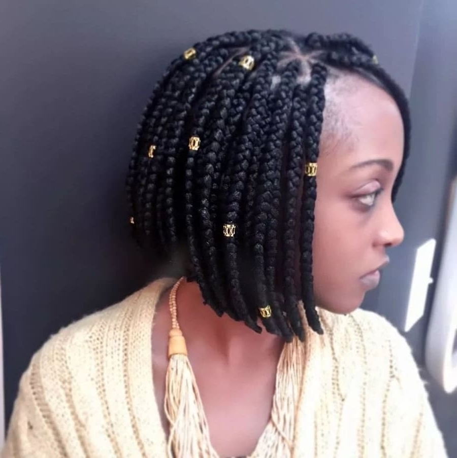 Newest Chic Braided Bob Hairstyles Throughout Best Box Braids Hairstyles 2018 ▷ Tuko.co (View 14 of 15)
