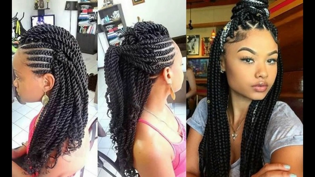 Newest Cornrows Hairstyles With Weave Throughout Latest Beautiful Ghana Weaving Styles 2016 – Youtube (View 5 of 15)