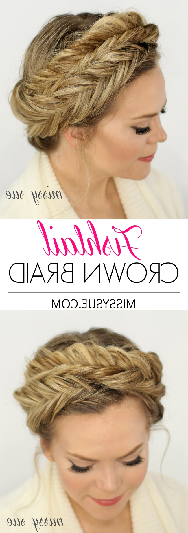 Newest French Braids Crown And Side Fishtail With Fishtail Crown Braid (View 12 of 15)