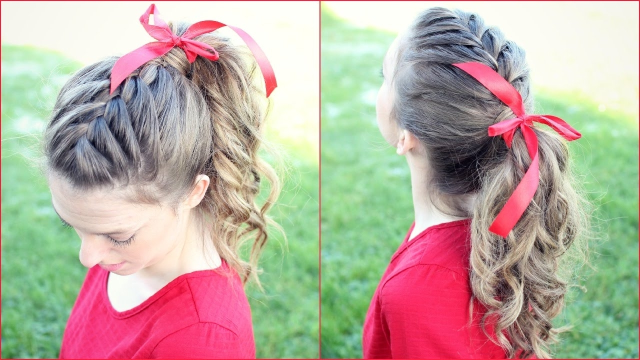 Newest Romantic Curly And Messy Two French Braids Hairstyles With Regard To How To: French Braid Ponytail Hair Tutorial (View 9 of 15)