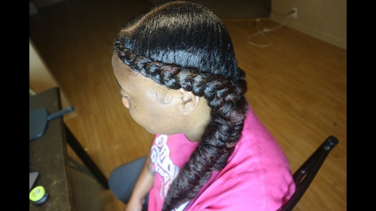 Newest Two Braids Into One Within 2 Feed In Braids Into 1 Side Fishtail – Youtube (View 9 of 15)