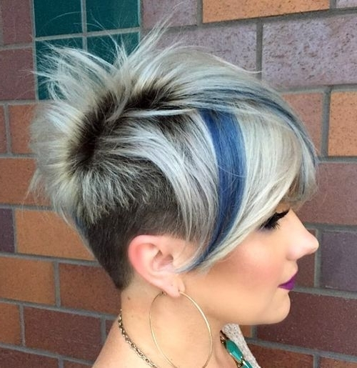 Newest Undercut Blonde Pixie With Dark Roots Pertaining To 15 Funky Blonde Pixie With Dark Roots And Blue Highlights (View 9 of 15)