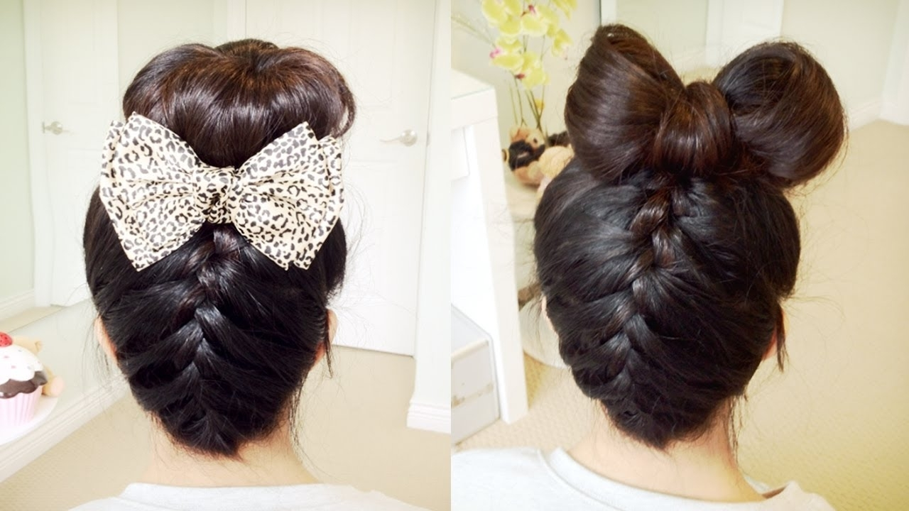 Newest Upside Down French Braids Into A Bun Inside Upside Down French Braid Hair Bow + Sock Bun Updo Hair Tutorial (View 5 of 15)