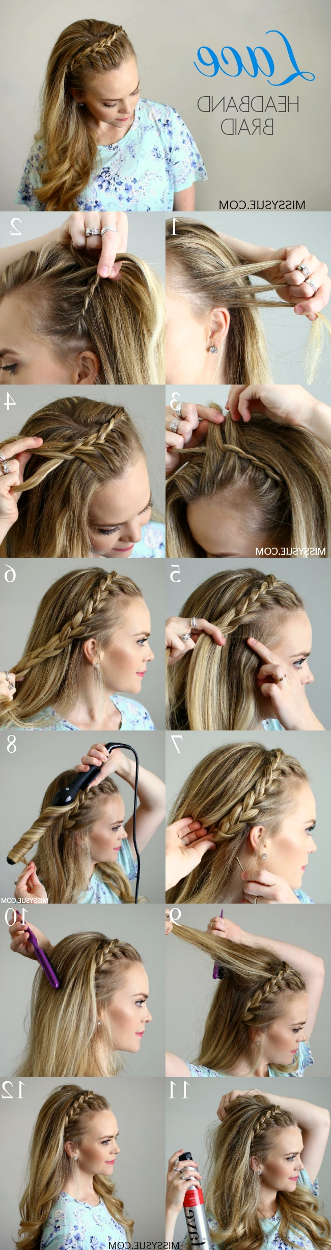 Newest Wrapped Ponytail With In Front Of The Ear Braids In Lace Headband Braid (View 2 of 15)
