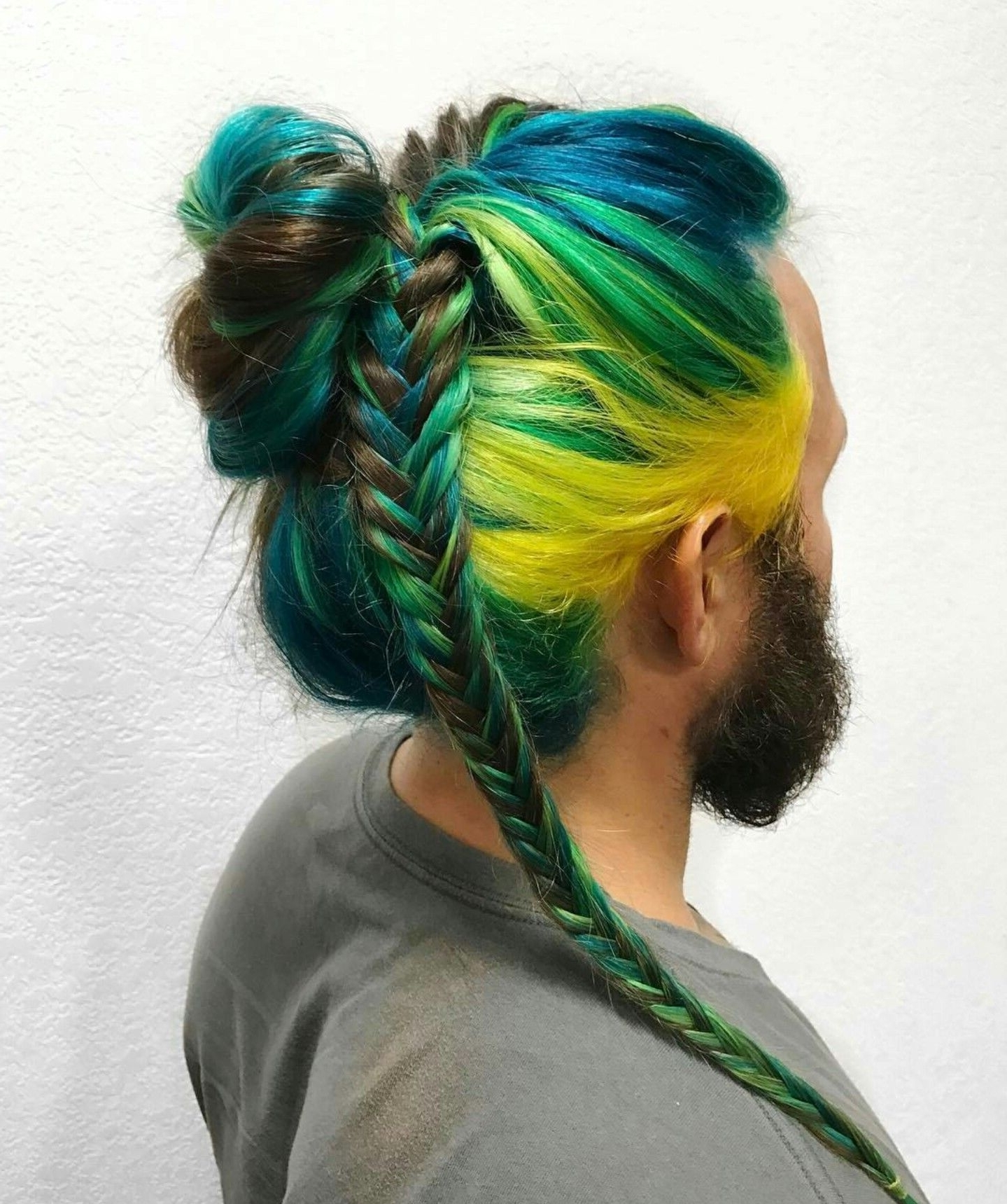 Peacock Colors Yellow Green Dyed Blue Braided Hair @xostylistxo Throughout Favorite Extra Long Blue Rainbow Braids Hairstyles (View 15 of 15)