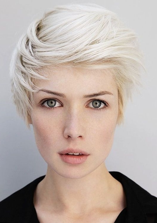 Photos Of Absolutely Gorgeous Platinum Hair Color Regarding Most Recent Bleach Blonde Pixie Haircuts (View 9 of 15)