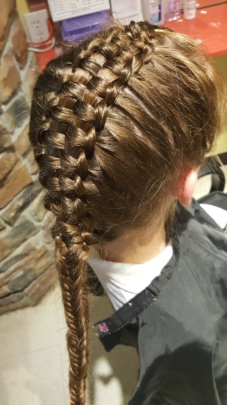 Pinstephanie Clement On Kids Hair Styles At Family Fun Cutz In Well Liked Zipper Braids With Small Bun (View 9 of 15)
