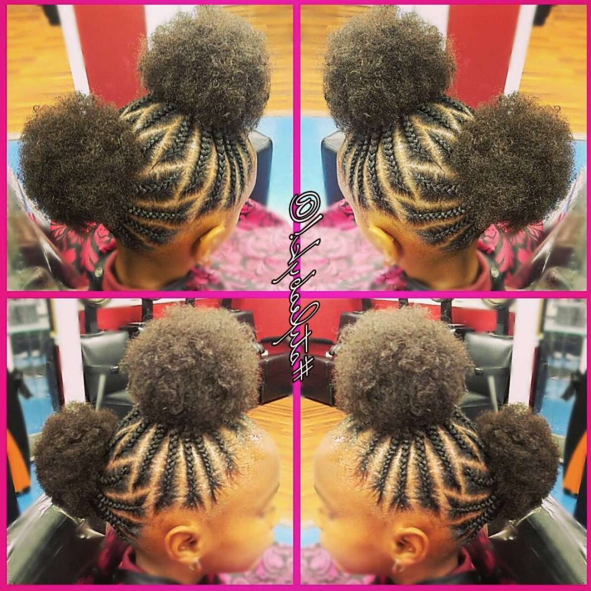 Popular Cornrows Hairstyles For School Inside Adorable Afro Puffs@kiabia87 Read The Article Here – Http (View 6 of 15)