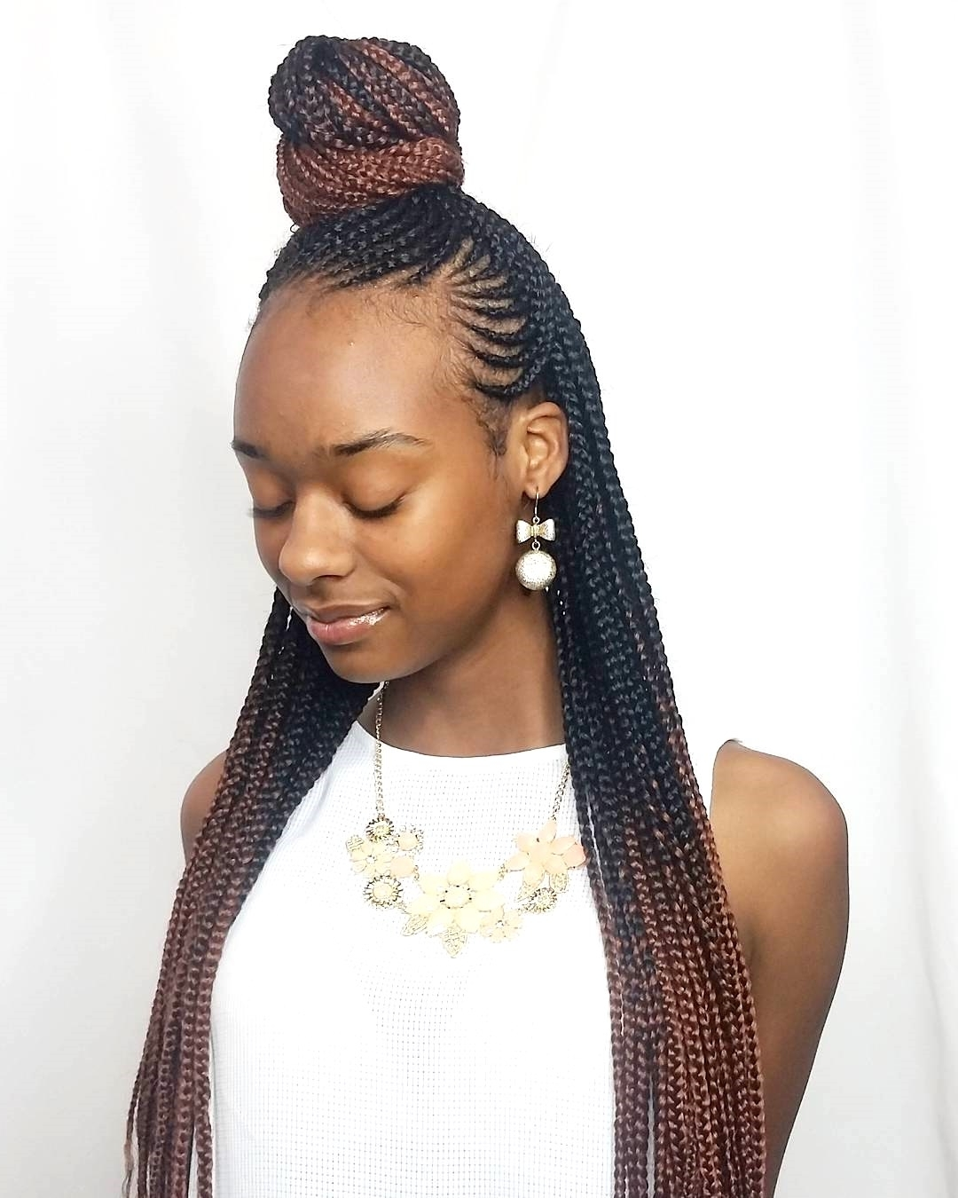 Popular Half Cornrow Hairstyles Regarding Half Cornrow Hairstyles For Inspiring Women Braided Long (View 13 of 15)