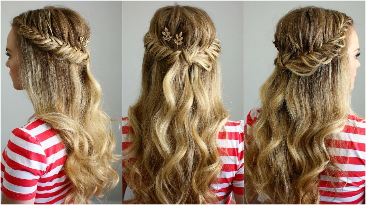 Popular Pinned Up French Plaits Hairstyles Throughout Half Up Fishtail French Braids (View 11 of 15)