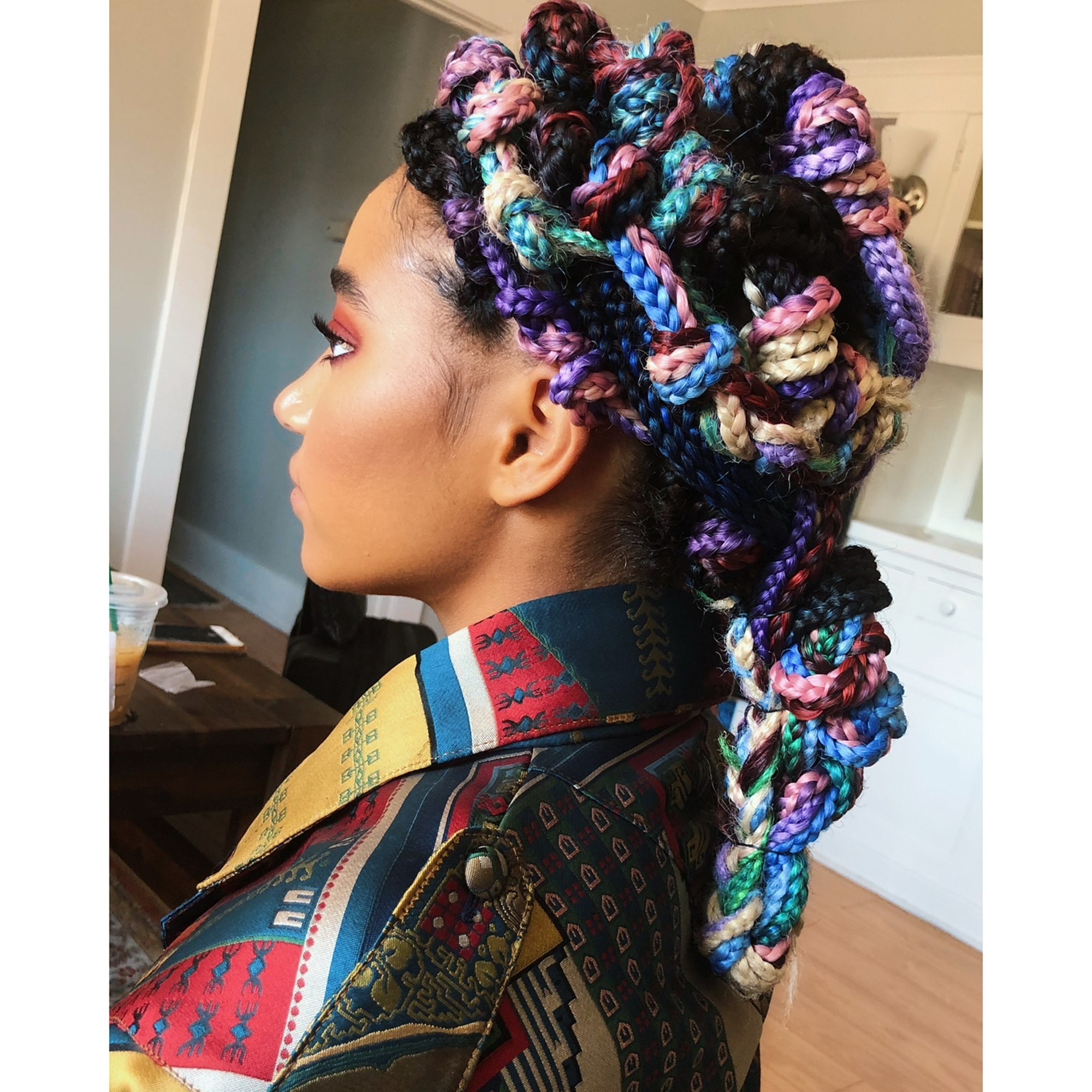 Popular Shoulder Length Loose Curls With Beaded Mini Fulani Braids Pertaining To 16 Dope Box Braids Hairstyles To Try (View 15 of 15)