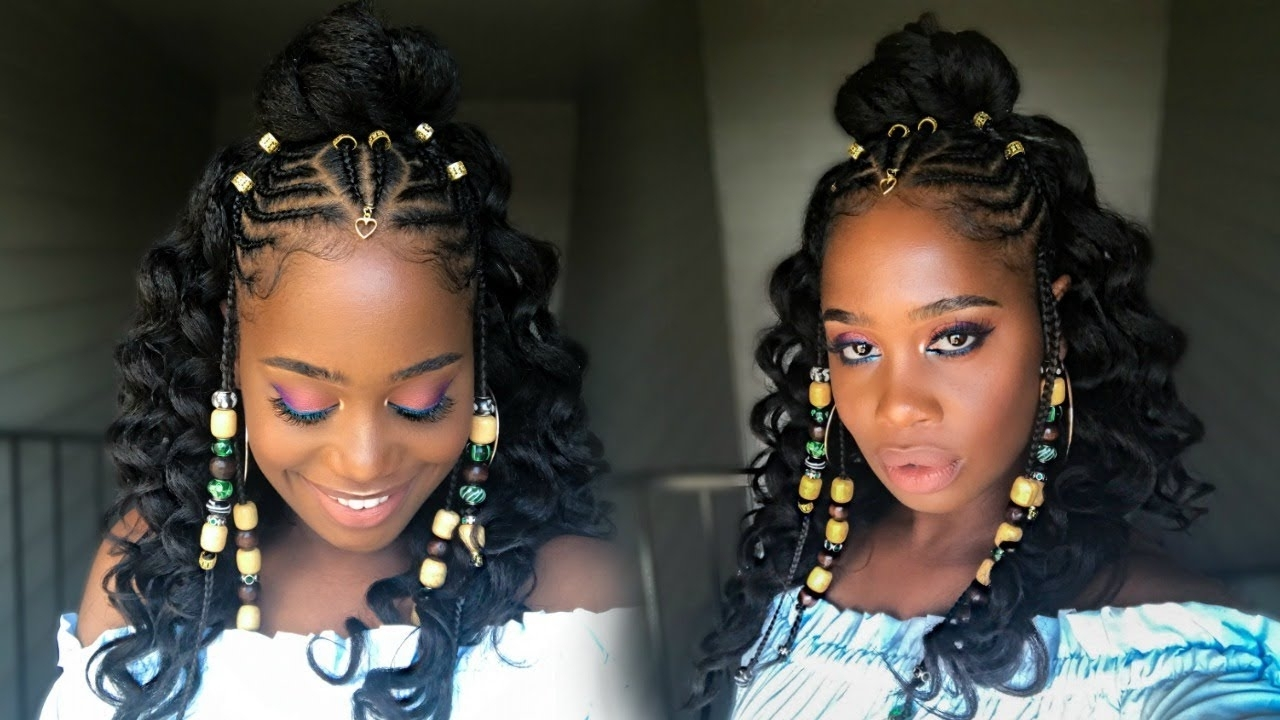 Popular Two Toned Fulani Braids In A Top Bun Within Fulani Inspired Braids With Beads Feat Her Given Hair (alicia Keys (View 15 of 15)