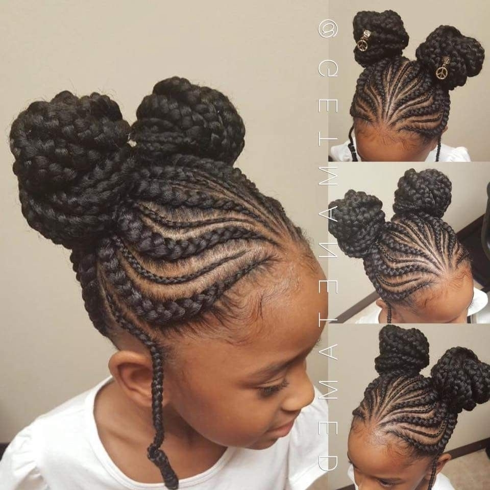 Preferred Double Braids Updo Hairstyles Within 40+ Totally Gorgeous Ghana Braids Hairstyles (View 12 of 15)