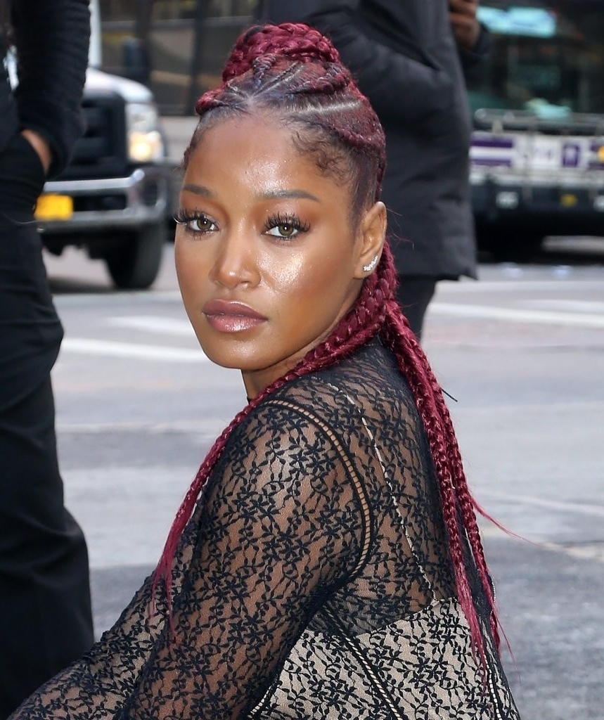 Preferred Red Cornrows Hairstyles Within Keke Palmer Long Cornrows – Keke Palmer Hair Lookbook – Stylebistro (View 9 of 15)