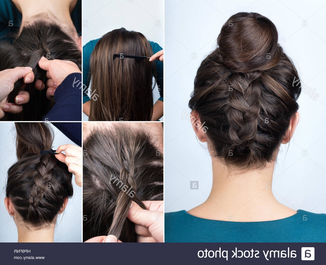 Preferred Upside Down French Braid Hairstyles Intended For Modern Hairstyle Reverse Braided Bun (View 8 of 15)