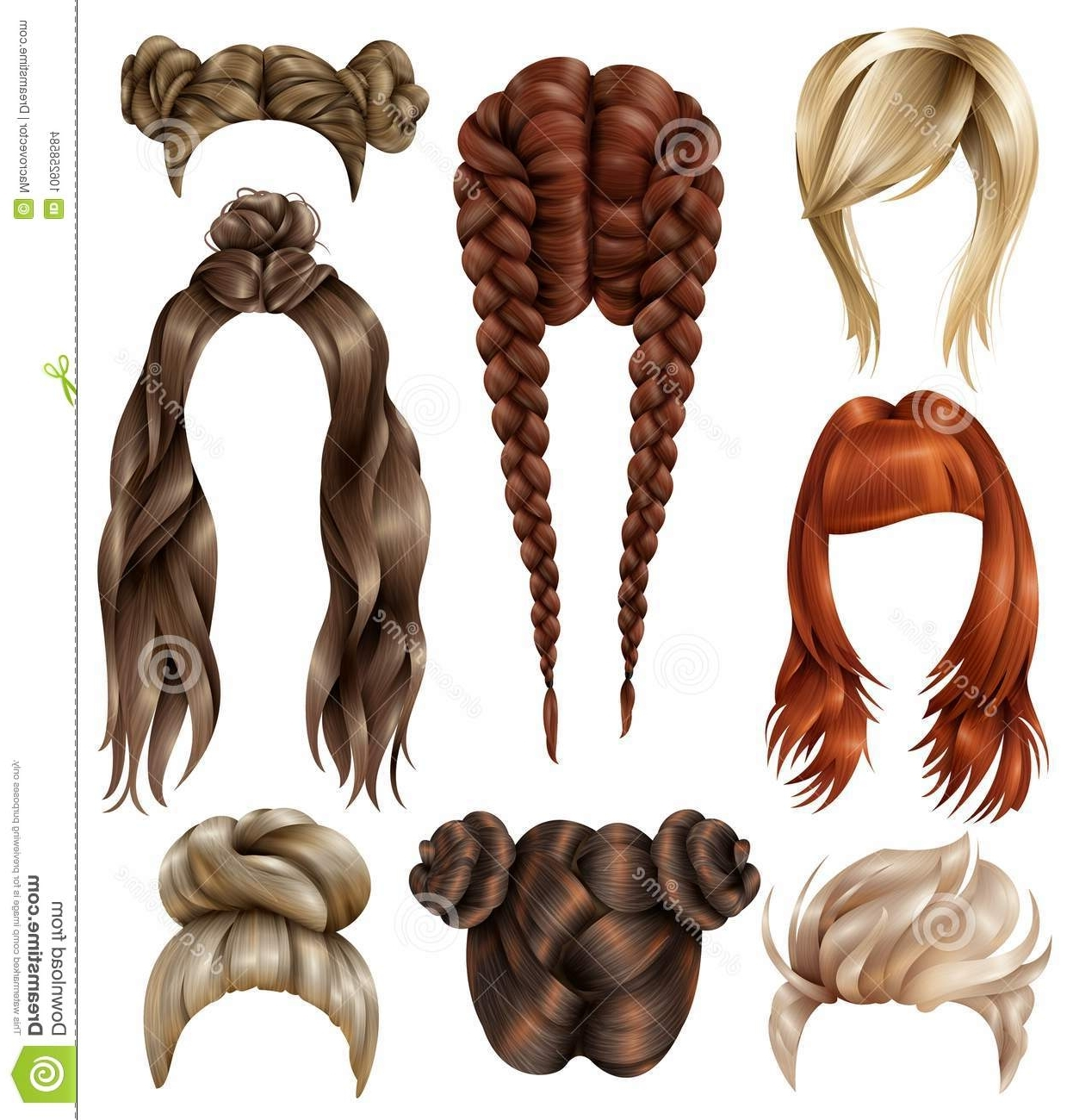 Realistic Female Hairstyles Set Stock Vector – Illustration Of Lady For Newest Long Braided Flowing Hairstyles (View 13 of 15)