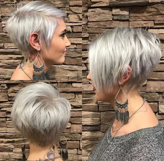 Recent Ash Blonde Pixie With Nape Undercut Throughout 10 Trendy Pixie Hair Cut For Blondes & Brunettes, 2018 Women Hairstyles (View 11 of 15)
