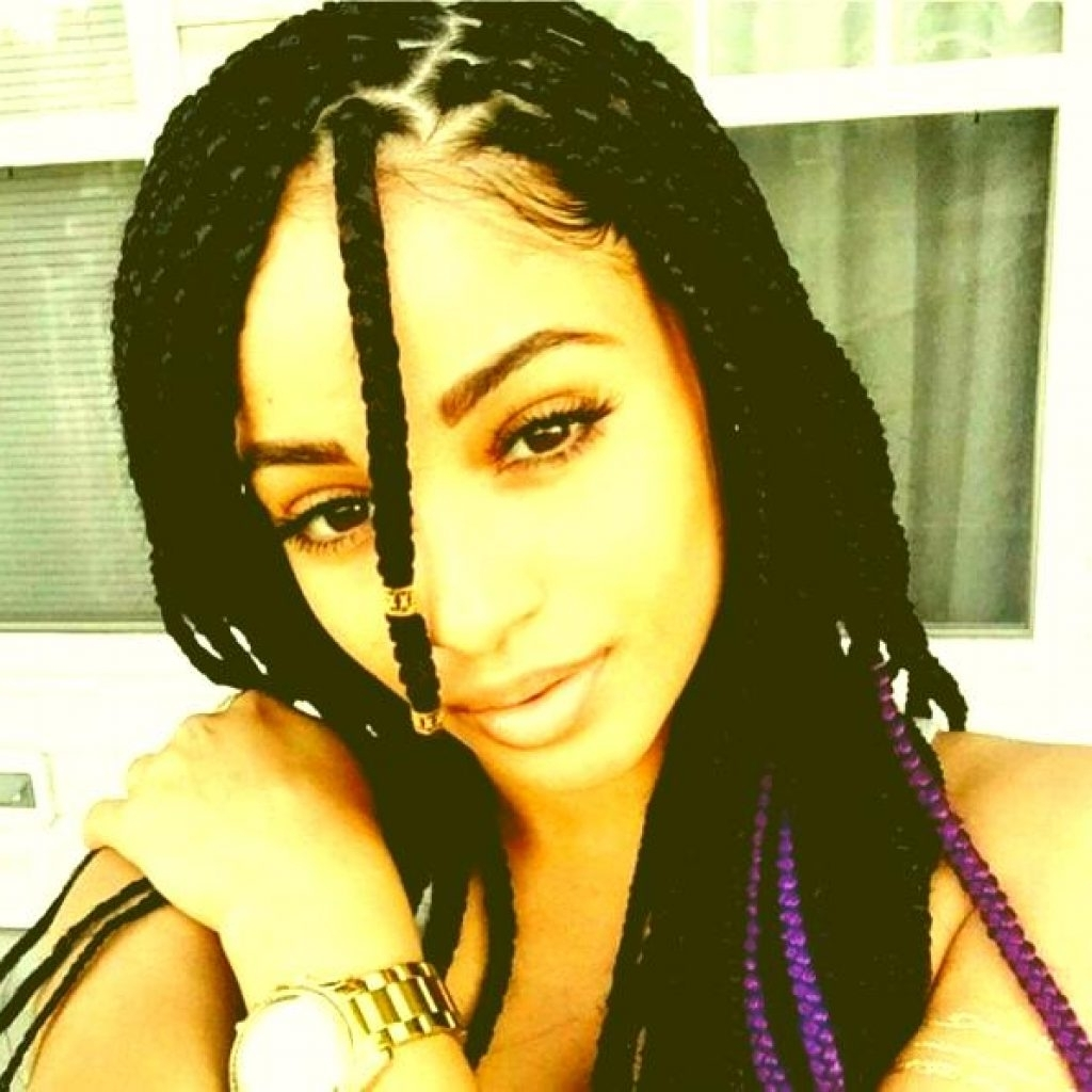 Recent Bold Triangle Parted Box Braids Inside Cornrows Into Side Ponytail  (View 14 of 15)