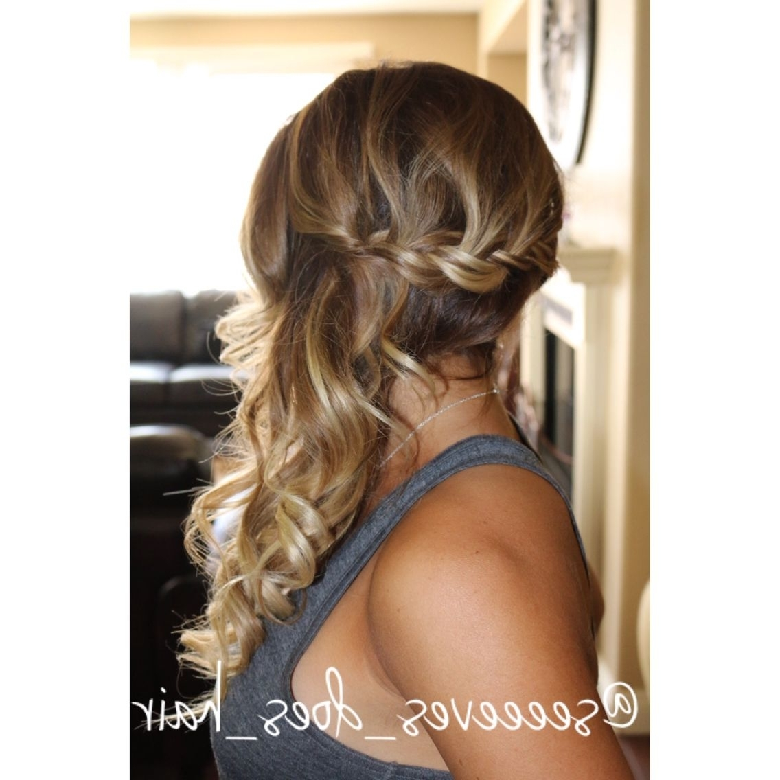 Recent French Braid Hairstyles With Curls Intended For Bridal Style– French Braid Pulled To One Side With Loose Curls. (Gallery 14 of 15)