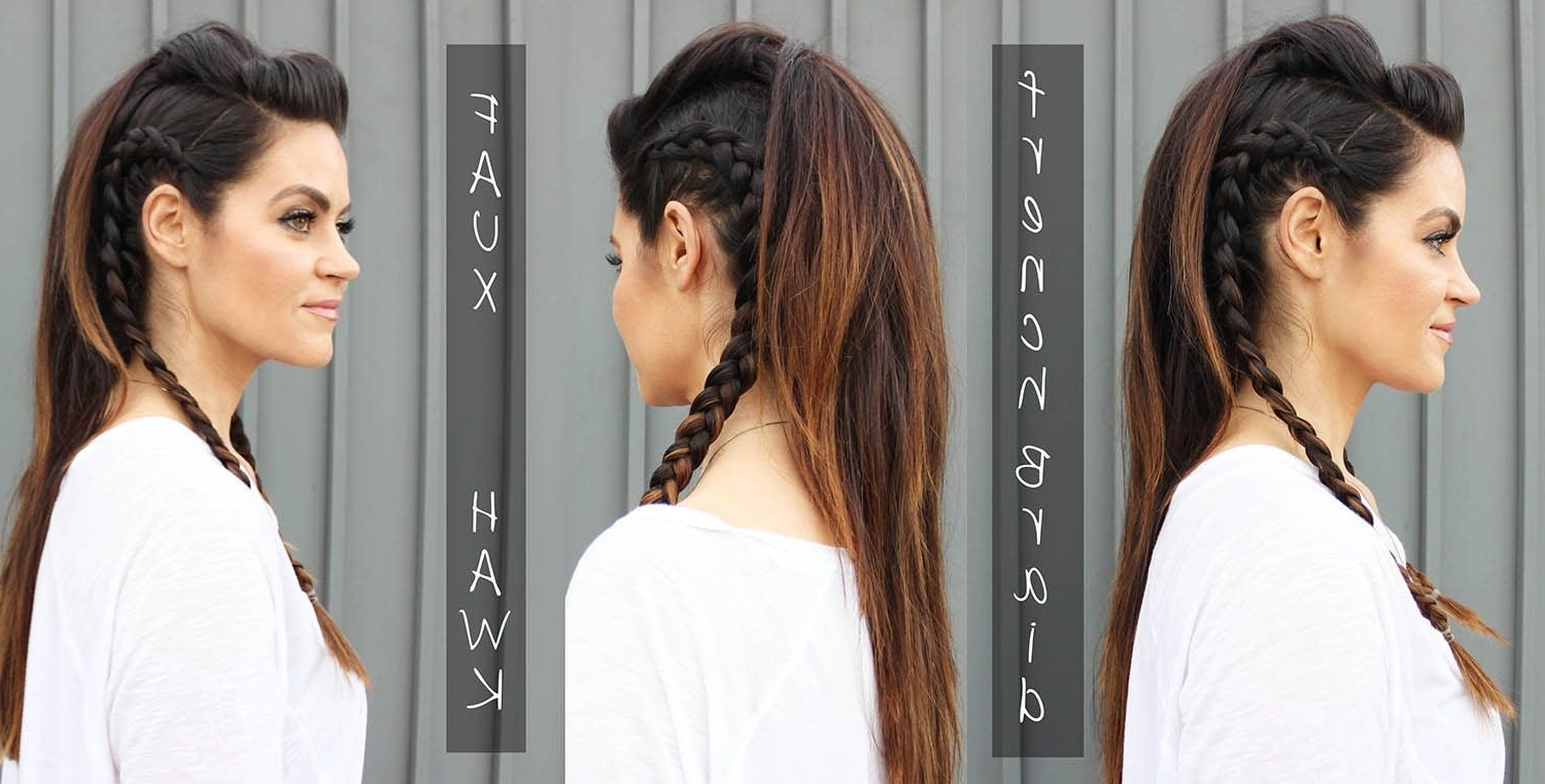 Recent Long Braided Faux Hawk Intended For Faux Hawk Hair Tutorial With Side Braids For Long Hair (View 12 of 15)