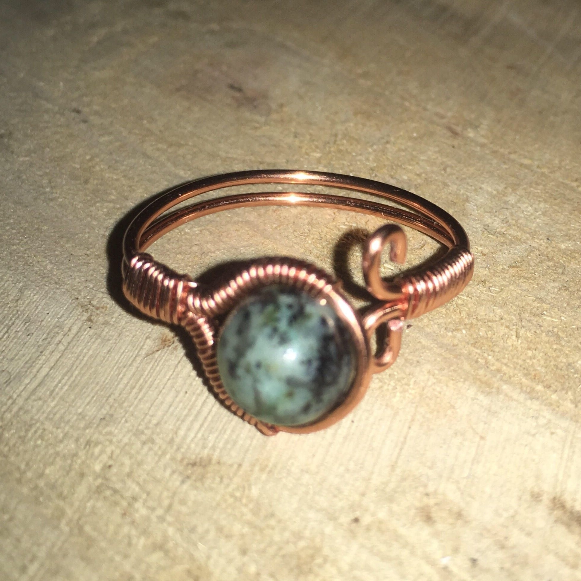 Semi Precious Stone Adjustable Copper Or Silver Wire Wrapped Ring Inside Best And Newest Ponytail Wrapped In Copper Wire And Beads (View 10 of 15)