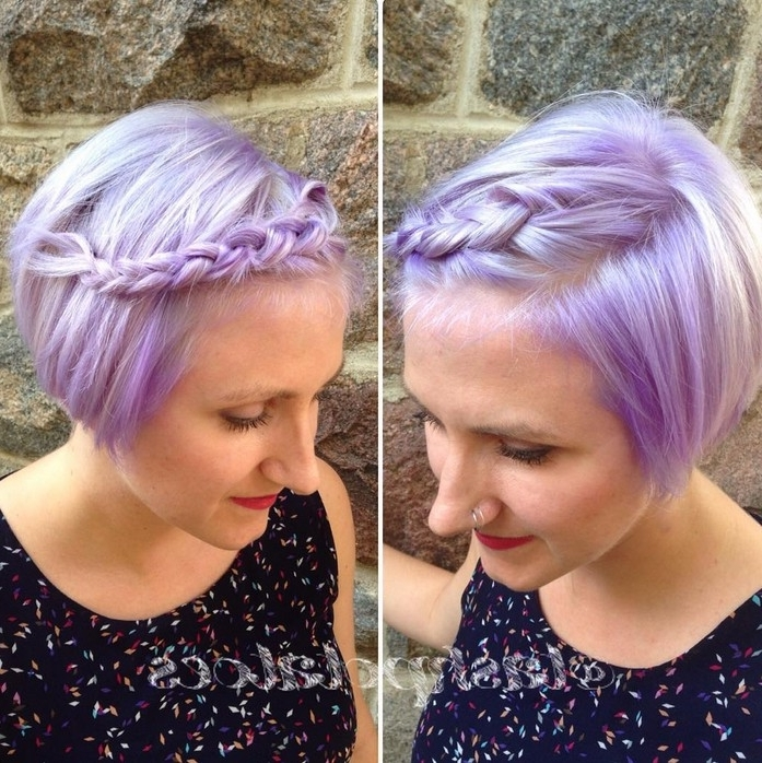 Short Braided Bob Haircut Pastel Bob Hairstyle With Braid – Popular With Popular Lavender Pixie Bob Haircuts (View 13 of 15)