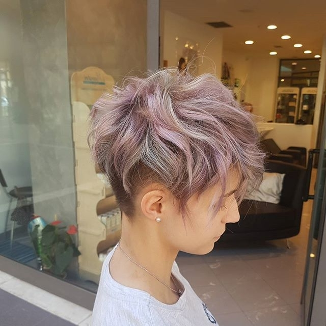 Short Choppy Pixie With Undercut And Beautiful Pastel Color (View 4 of 15)