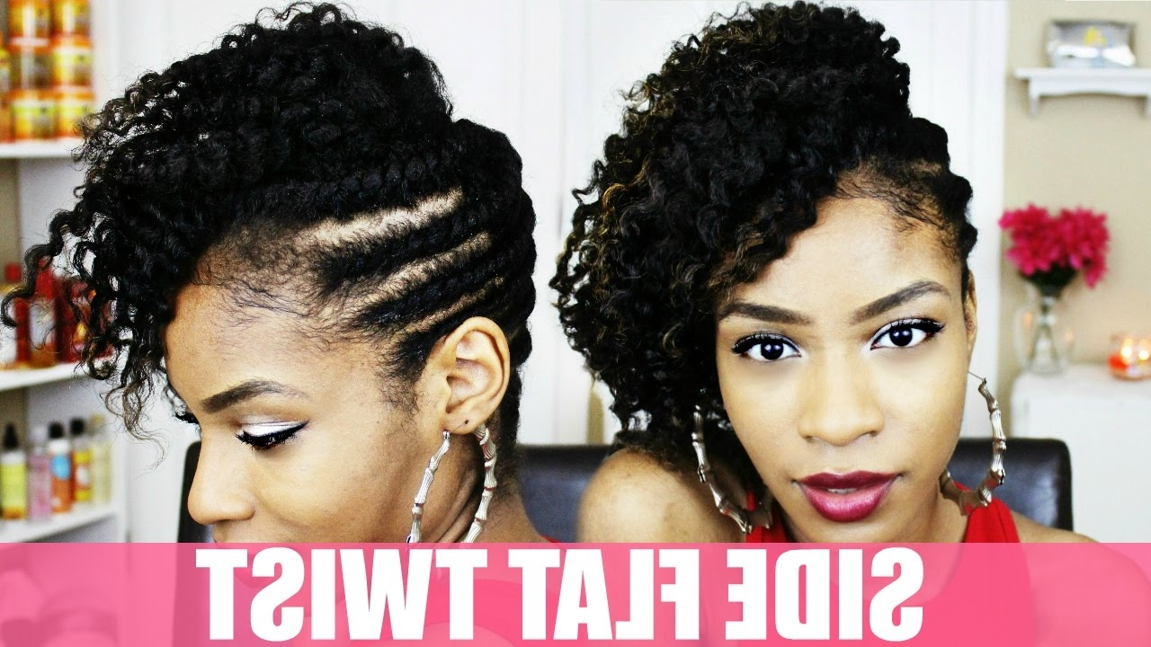 Side Flat Twist Hairstyle On Natural Hair – Youtube For Most Popular Curly Mohawk With Flat Twisted Sides (View 5 of 15)