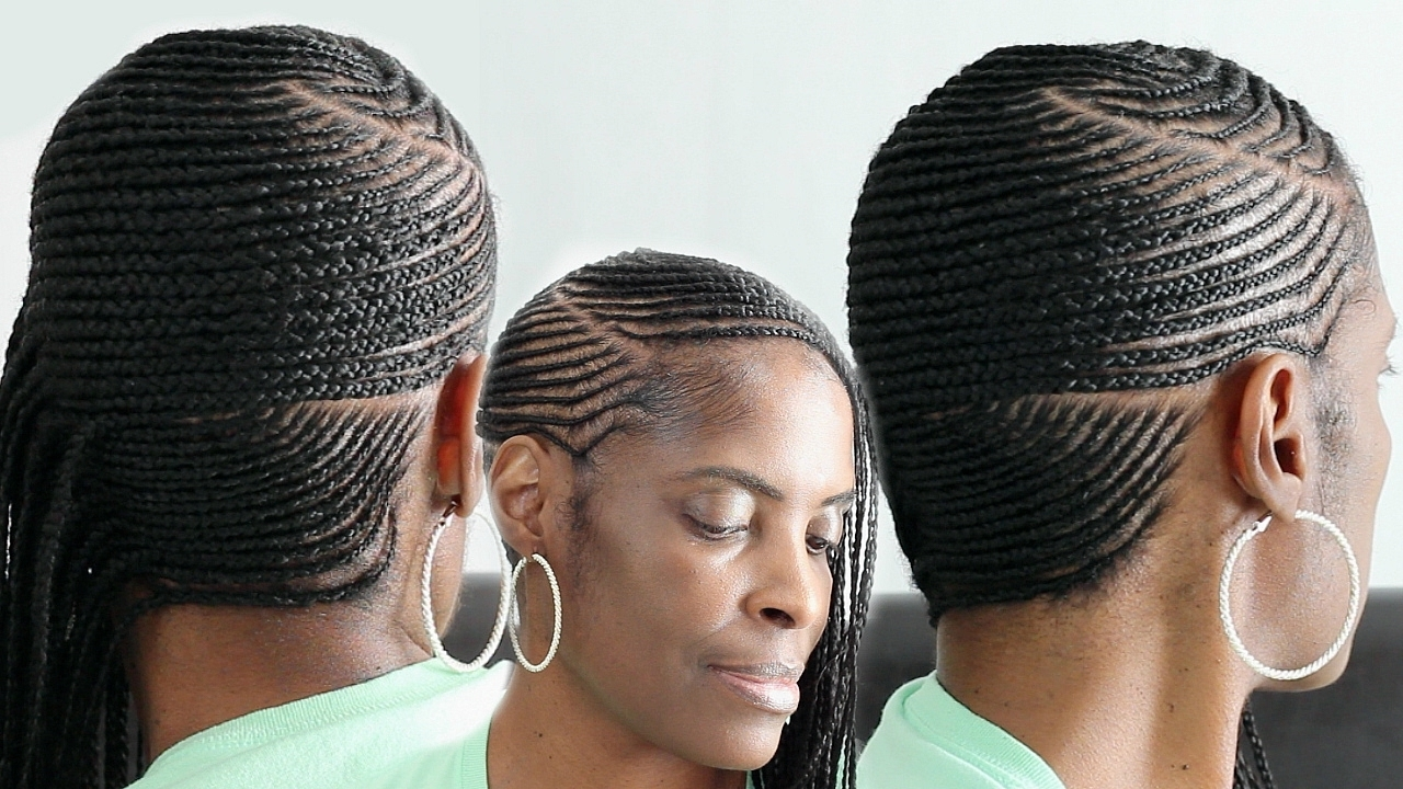 Small Feed In Side Braids▻ Cornrows On Short Natural Hair – Youtube Within Well Known Straight Up Cornrows Hairstyles (View 8 of 15)