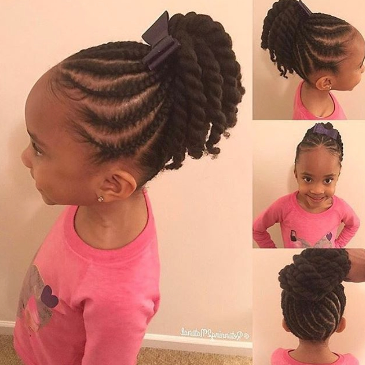 So Adorable Via @returning2Natural – Https://blackhairinformation Within Best And Newest Top Knot Ponytail Braids With Pink Extensions (View 12 of 15)