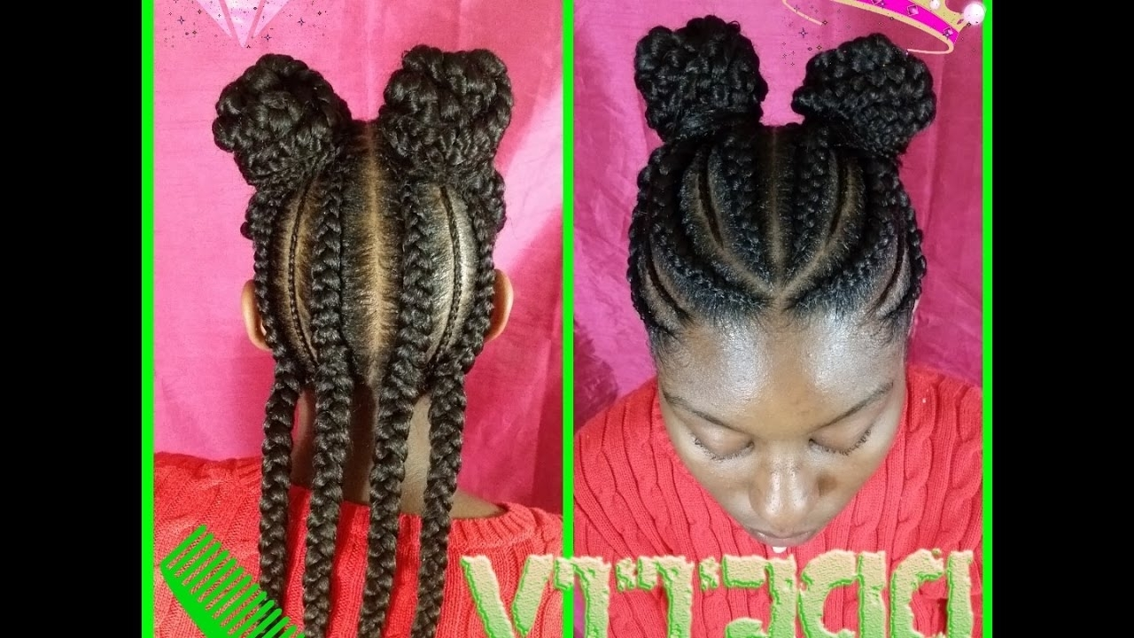 Style With J:watch Me Slay These Feed In Braid Into 2 Buns – Youtube Pertaining To Current Feed In Bun With Ghana Braids (View 3 of 15)