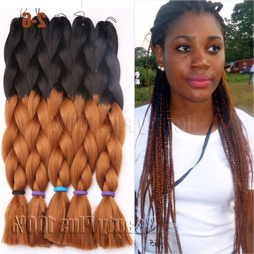 "Synthetic Braiding Hair 24"" Box Braids 100G Hair Extension Jumbo For Most Recent Multicolored Jumbo Braid Hairstyles (View 13 of 15)"