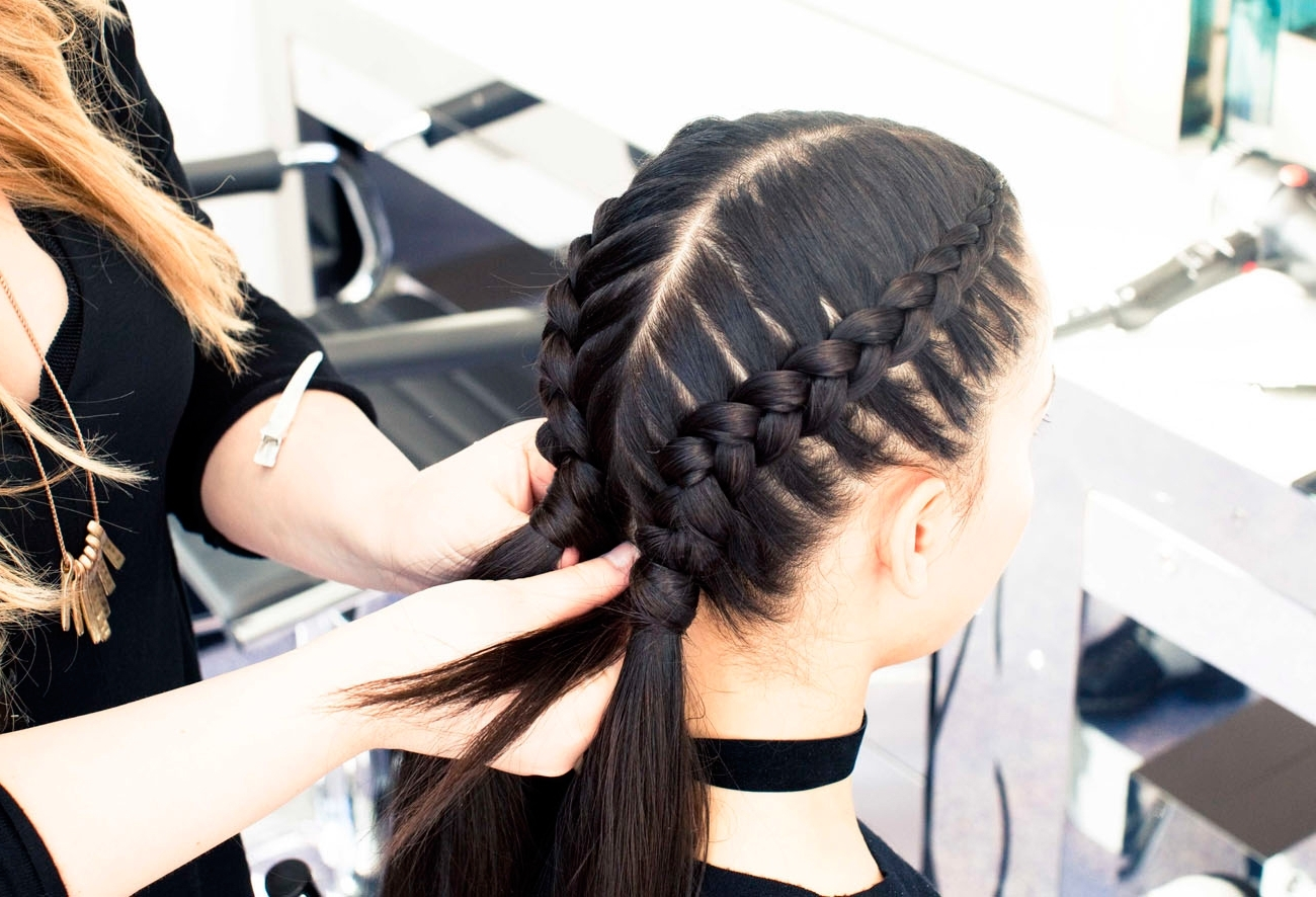 The Boxer Braid (Aka Double French Braid): A How To – Coveteur Inside Famous Two Cornrow Boxer Braids (View 11 of 15)