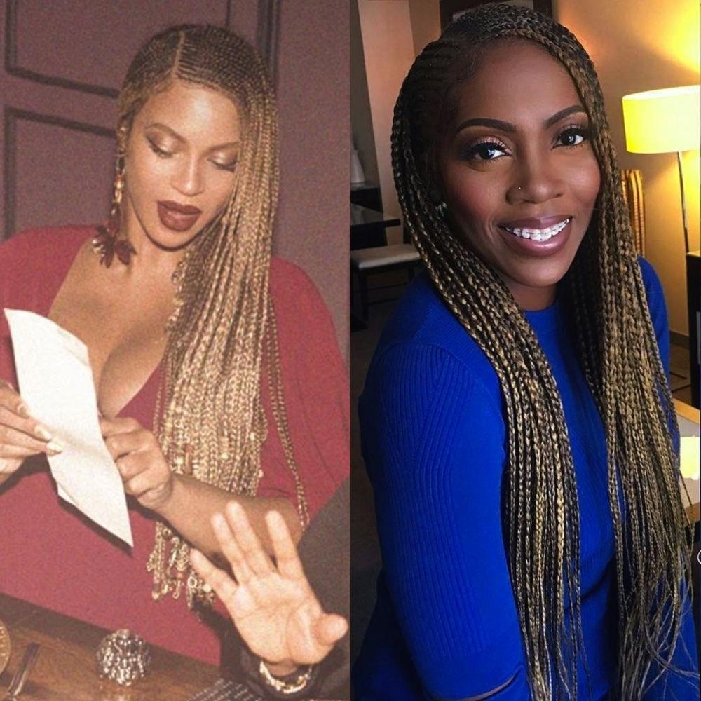 Tiwa Savage & Beyonce Rocking Long Blonde Braids – Potrix Blog For Favorite Beyonce Cornrows Hairstyles (View 11 of 15)