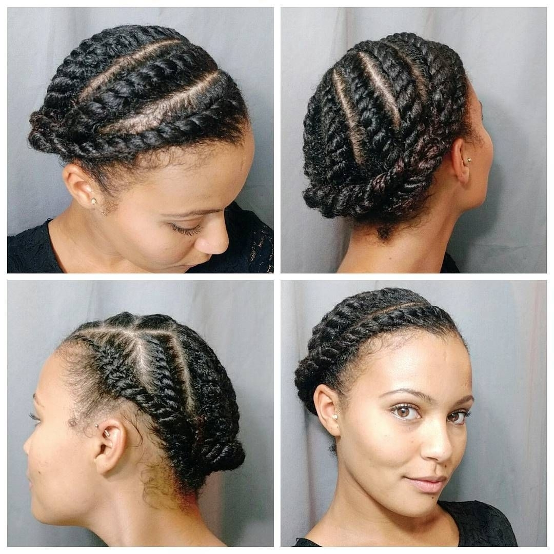 Today's Style After Washing My Hair I Did Large Flat Twists On My Throughout Well Known Crossed Twists And Afro Puff Pony (View 8 of 15)