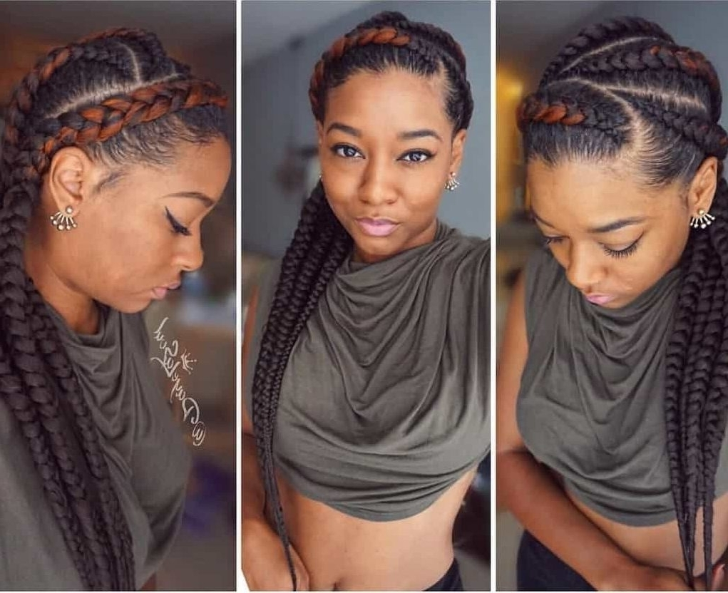 Top 20 Feed In Braids In Cornrow Styles – Hairstylecamp Throughout Most Current Cornrows Hairstyles That Cover Forehead (View 9 of 15)
