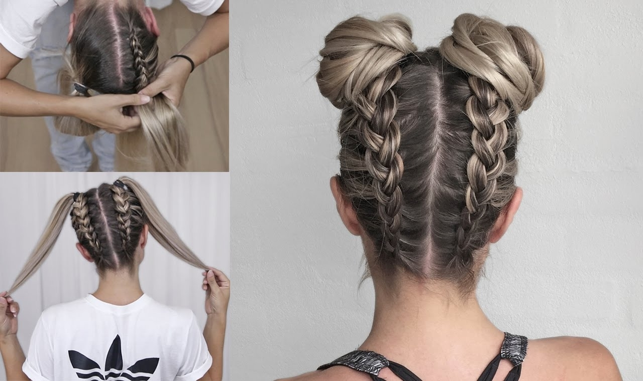 Trendy Braided Bun With Two French Braids Regarding Space Buns – Double Bun – Upside Down Dutch Braid Into Messy Buns (View 15 of 15)