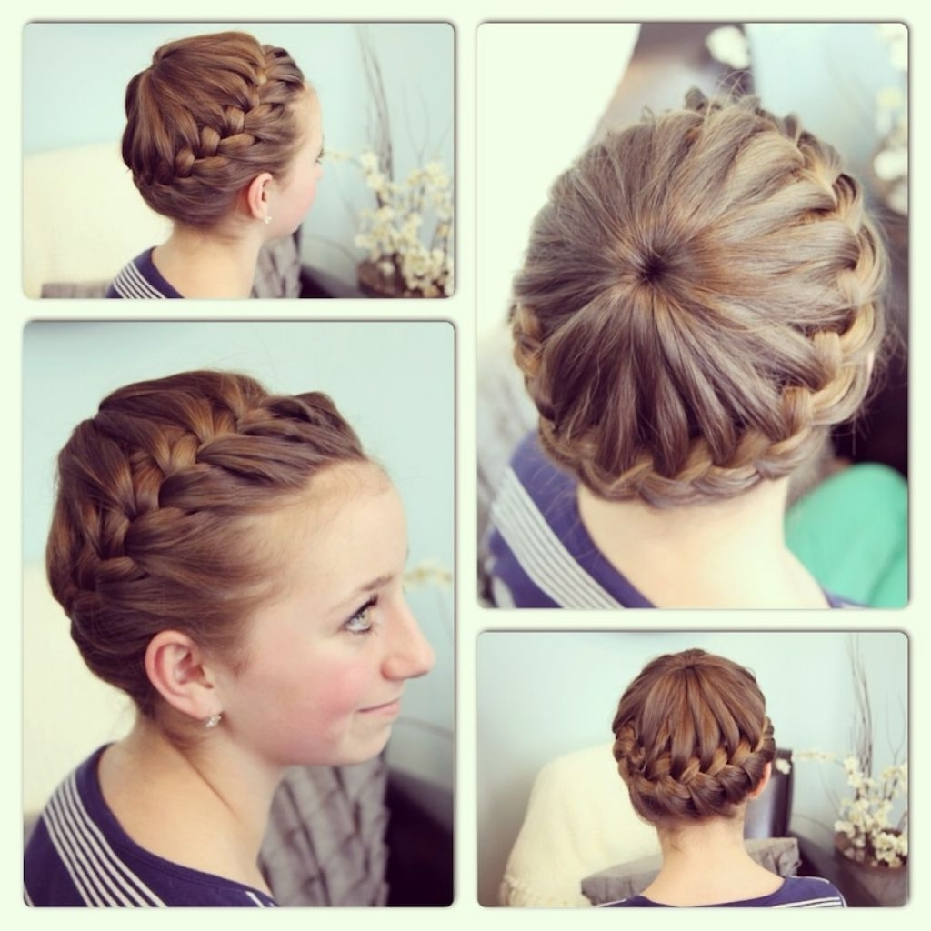 Trendy Double French Braid Crown Hairstyles Regarding Braid With Messy Bun Double French Messy Bun Updo Cute Girls Hairstyles (View 13 of 15)