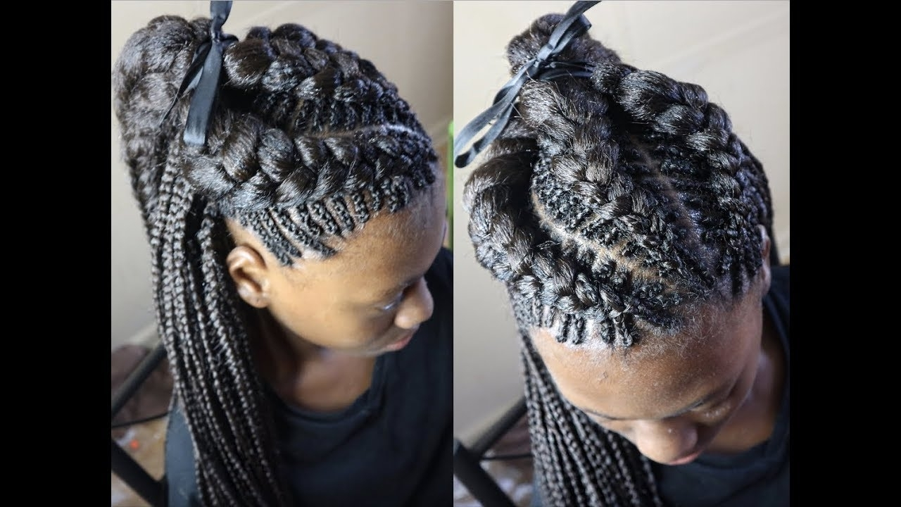 Trendy Ponytail Braids With Quirky Hair Accessory Intended For 30 Beautiful Fishbone Braid Hairstyles For Black Women – Part  (View 12 of 15)