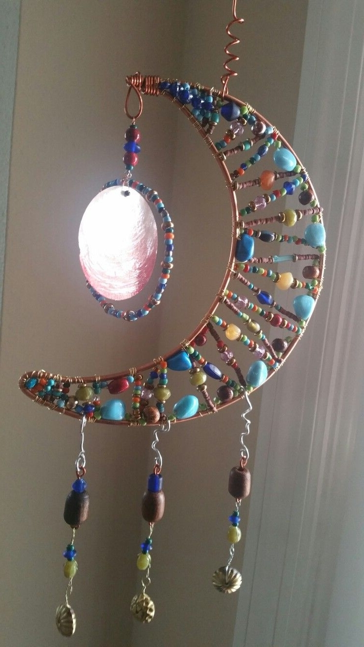 Trendy Ponytail Wrapped In Copper Wire And Beads In Moon Shaped Beaded Sun Catcher (View 11 of 15)