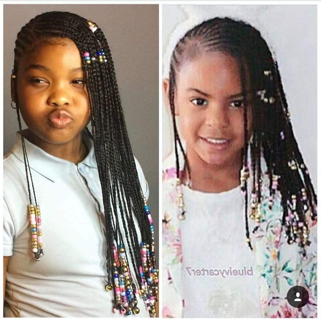 Trendy Shoulder Length Loose Curls With Beaded Mini Fulani Braids Pertaining To Beyoncé Knowles Daughter Blue Ivy Carter Lemonade Braids Long (View 3 of 15)