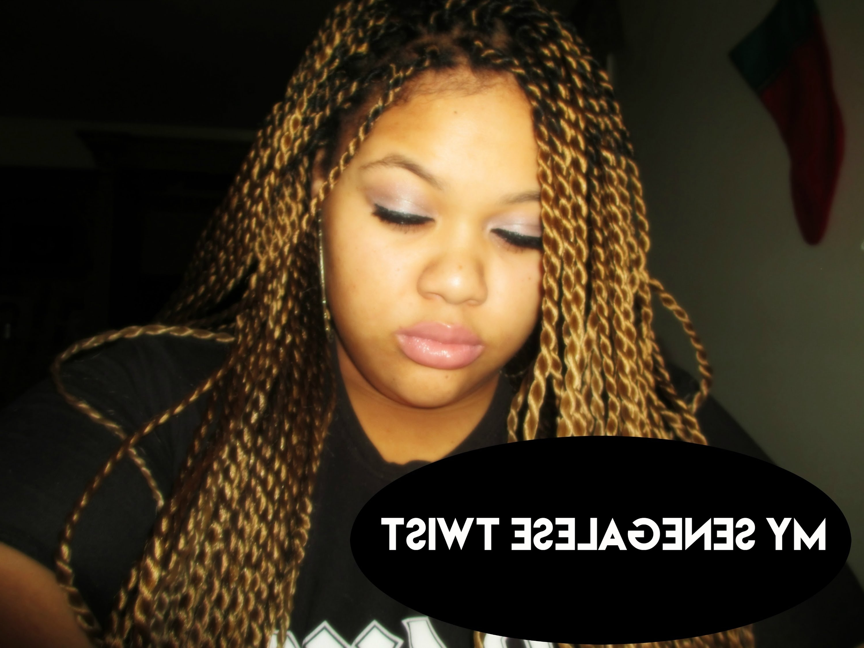Trendy Twisted Updo With Blonde Highlights Regarding My Blonde Senegalese Twist (View 10 of 15)
