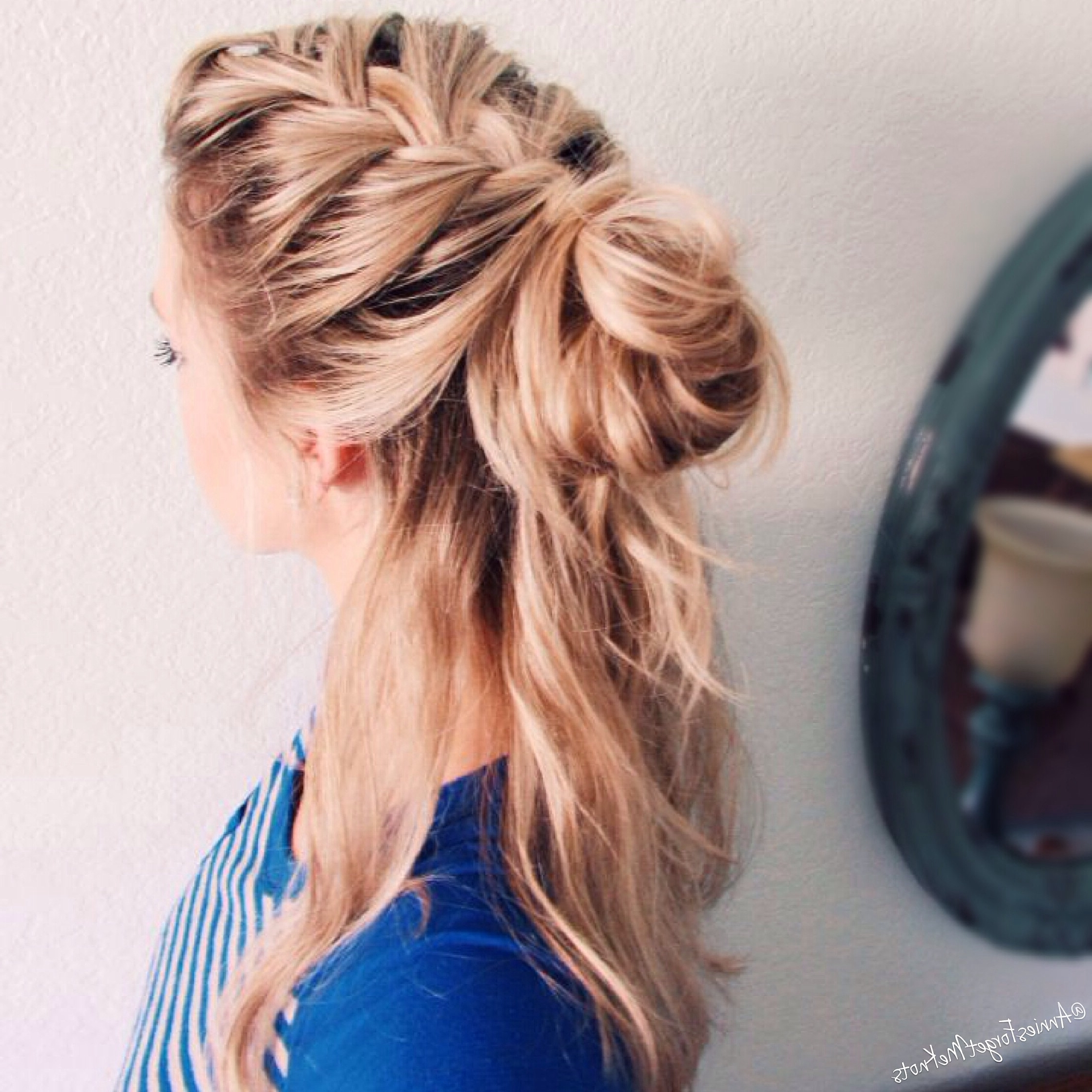 Trendy Two French Braid Hairstyles With A Sock Bun With Regard To Ideas Collection French Braid With Bun Hairstyles Perfect French (View 14 of 15)